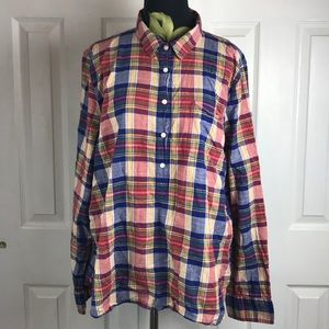 J crew Boy fit popover plaid cotton shirt Sz XL